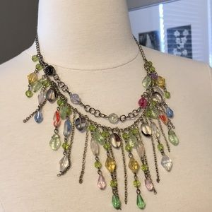 Boho Hippie Chic Chandelier Beaded Necklace Pastel